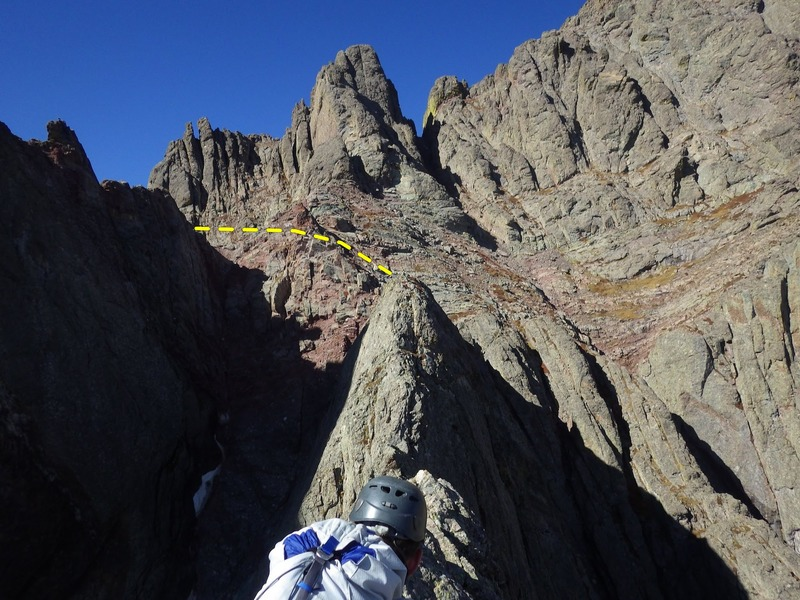 The knife edge connecting the buttress summit to the main ridge.