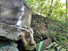 Rock Climbing Photo: Andrew heading into the crux.