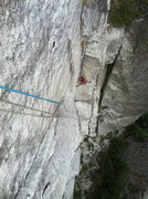 Rock Climbing Photo: hansi on the second pitch of silk road, 5.10