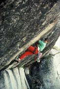 Rock Climbing Photo: Attempting to lead the Back Breaker Roof in 1989. ...