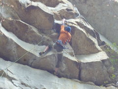 Rock Climbing Photo: Pulling the crux on alchemy, great climb!