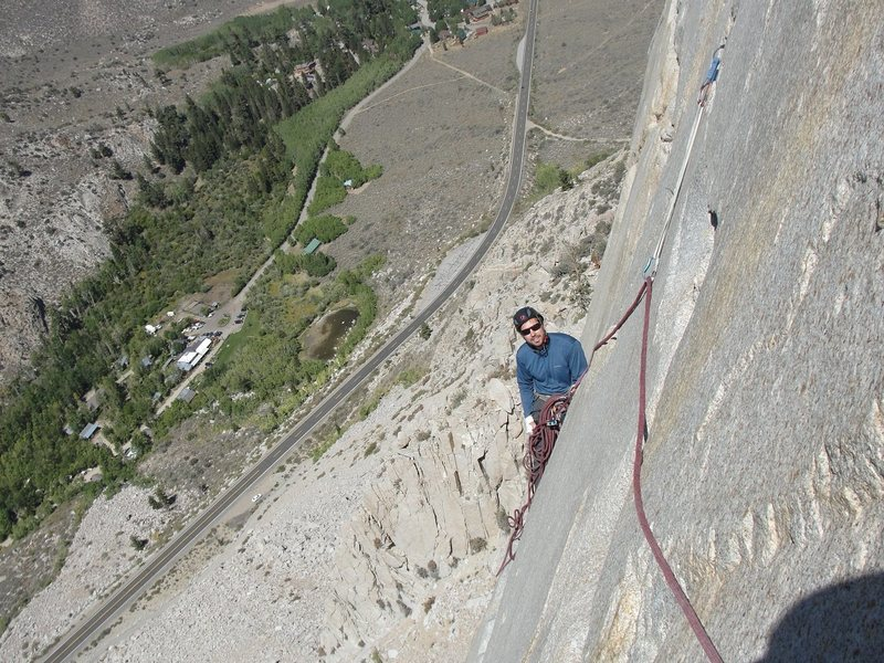 My good friend Keith at the belay on pitch two.