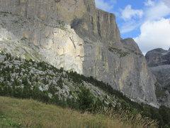 Rock Climbing Photo: Piz Ciavazes from road descending Sella Pass towar...