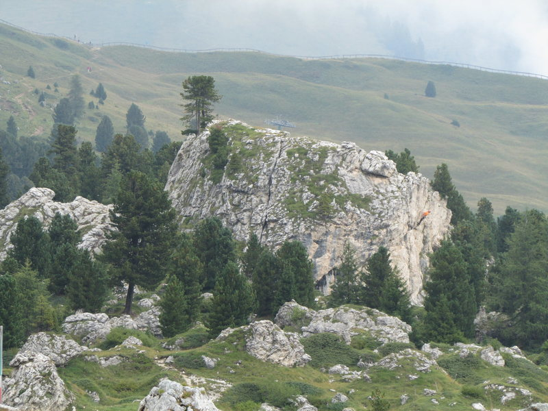 A formation near the Sella Pass road. Complete with a climber.