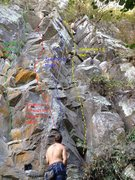 Rock Climbing Photo: Topo details for Updraft to Hell, Breaking Through...