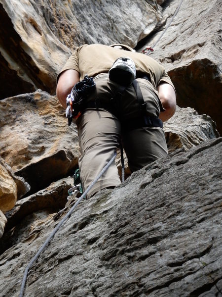 Climber on belay ledger ~75 ft off the ground. Taken with a Nikon CoolPix s9700