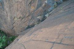 Rock Climbing Photo: Looking down the crackrock corner.