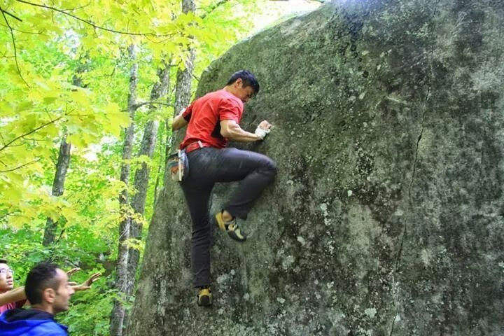 Stephen first day outdoor bouldering