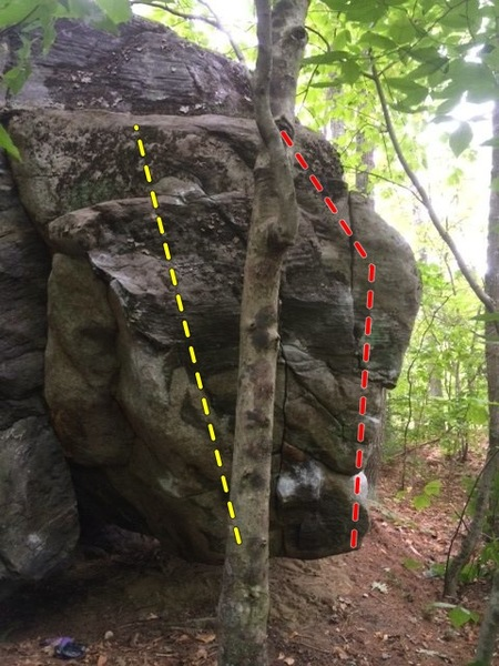 Eastern Bulge Boulder. Only 2 obvious way up. Left or right. Left side climbs quite a bit harder.