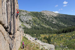 Rock Climbing Photo: Moving past the horizontal on the pumpy moves to t...