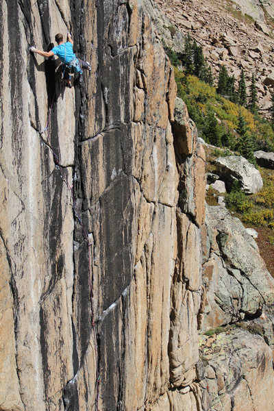 In the middle of the crux sequence.