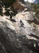 Rock Climbing Photo: At the crux.  Photo John Ely