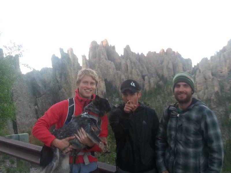 Cathedral Spires in the Needles of South Dakota, Custer State Park. From right: climbing parters, Thomas, Charlie, BB Dog, and me.