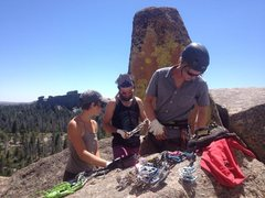 Racking up for some off-width at Vedauwoo in Wyoming, with climbing partners Melissa and Thomas.