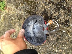 Rock Climbing Photo: How much the hoody protrudes into the chalk bag wh...