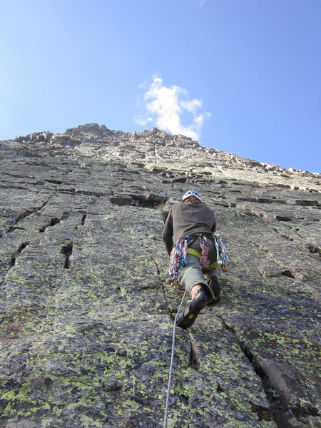 Start of 2nd pitch after the right-facing dihedral where we first roped up.
