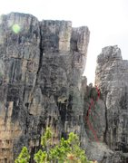 Rock Climbing Photo: The route is shown to the point at which it curves...