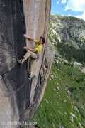 Rock Climbing Photo: David Fay on the last of the three crux sections.