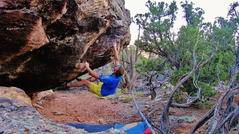 Rock Climbing Photo: Sticking the first move to the pocket on Fire Is A...