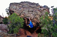 Rock Climbing Photo: Working back left on the incut edges on Fire Is Al...