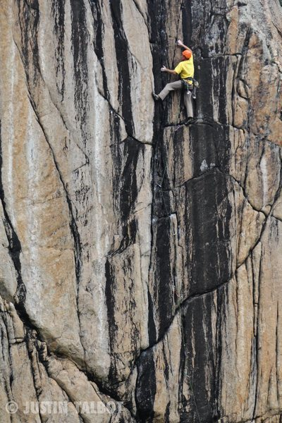 Rock Climbing Photo: Rob Dillon fights the burn towards the top.