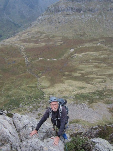 Peter on Gillacombe Buttress 600' 5.6