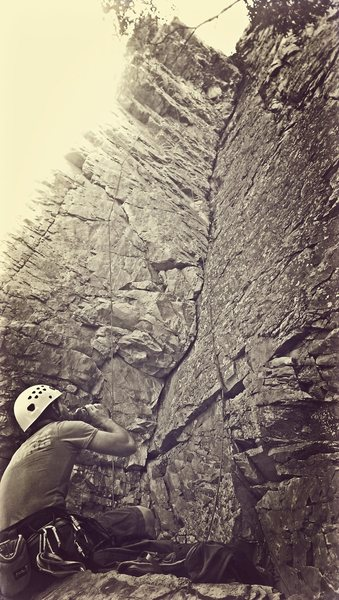 JD at chambered nautilus, 5.10a, challenge buttress in big cottonwood