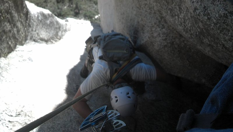 Rock Climbing Photo: From good ledge overlooking 5.4 chimney.