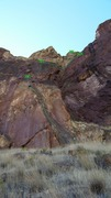 Rock Climbing Photo: Topo photograph of Dirty Pinkos.  Random climbers ...