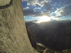 Rock Climbing Photo: Sun setting somewhere around pitch 8