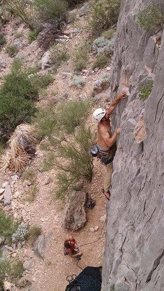 Matt finishing up the crux sequence.