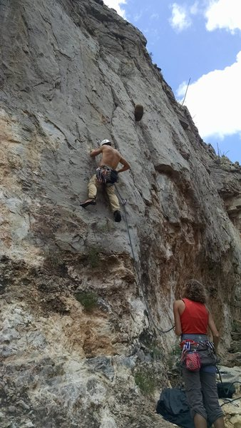 Rock Climbing Photo: Start of K9 Karma with Tidy Cat just to the left (...