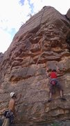 Rock Climbing Photo: Carrie following Red Hot Rodent ... there is a roc...