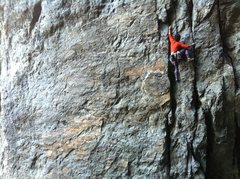 Rock Climbing Photo: Gabe on Resurrection .11c. Emeralds Gorge, CA.