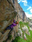 Rock Climbing Photo: Hannah Trim cruising the steep start to Columbine ...
