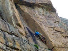 Rock Climbing Photo: David Fay on the first ascent.