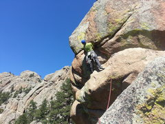 Tom Wright about to tackle the first crux on The Prow.