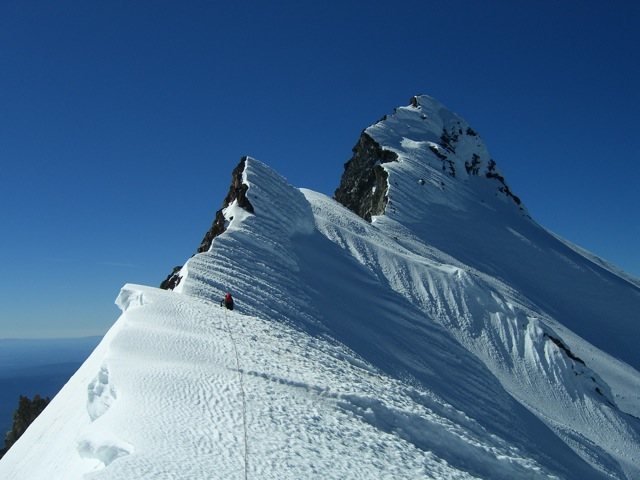 At the col between the end of the north ridge and the summit pinnacle. 1 July 2014