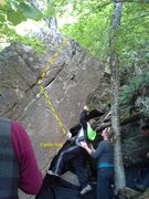 Rock Climbing Photo: Alternator climbs arete to the left of problem den...