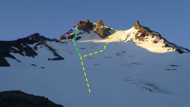 Jeff Park Glacier and North Ridge<br> <br> Yellow - Std. Jeff Park Galcier<br> Green - Jeff Park Glacier North Ridge Variation<br> Blue - North Ridge