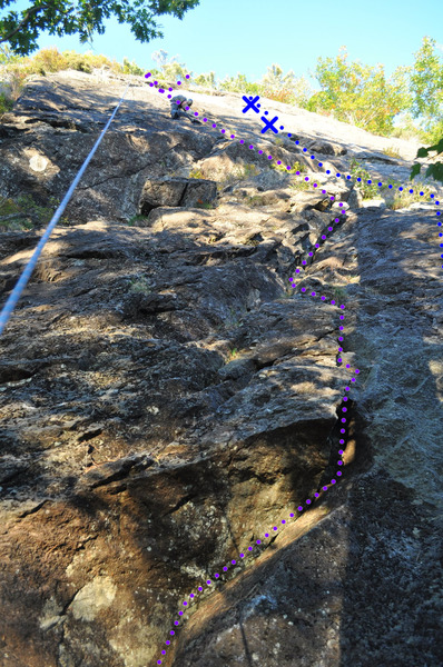 Rock Climbing Photo: The start of Clamdigger Crack in purple, blue clim...