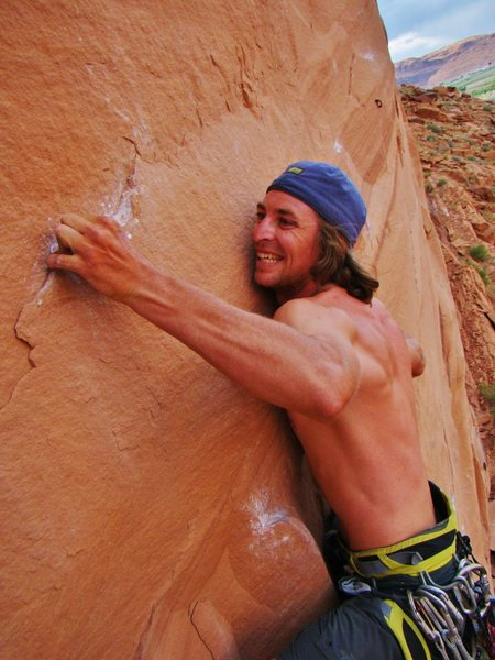John Marx climbing through the crux