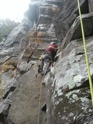 Rock Climbing Photo: Climbing Supernova. Crack to the left is the first...
