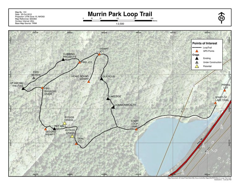 A map of the Murrin Park loop trail, showing the location of the crags.