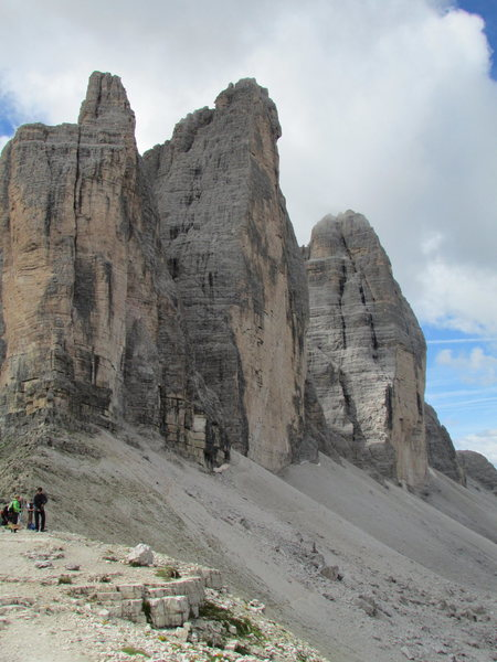 """Classic"" view of the Tre Cime di Laverado from Forcella di Laverado."