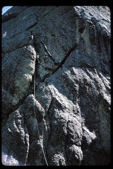 Richard Goldstone on the crux crack, second ascent of the West Buttress of Outer Outlet, 1965 (I think)