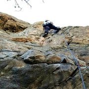 Rock Climbing Photo: Leading the route.