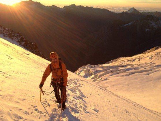 Halfway up the Northeast ridge of the Nadelhorn, Switzerland.