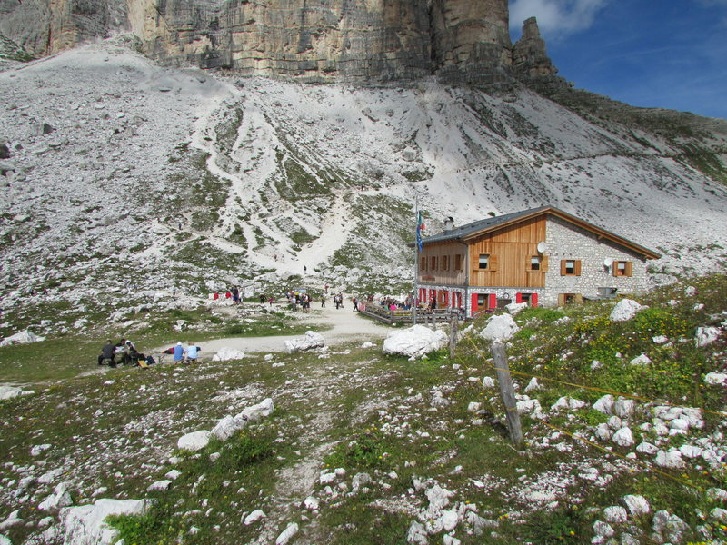 Laverado Hut, a good base for climbing in the Tre Cime.