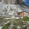 Laverado Hut, a good base for climbing in the Tre Cime.